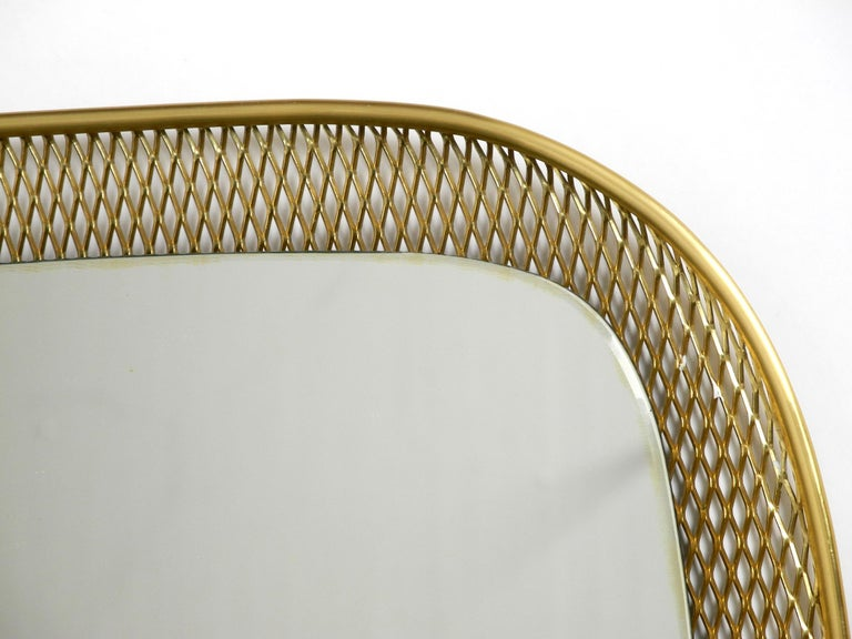 Beautiful, Very Rare Mid-Century Modern Wall Mirror with a Brass Grid Frame 8