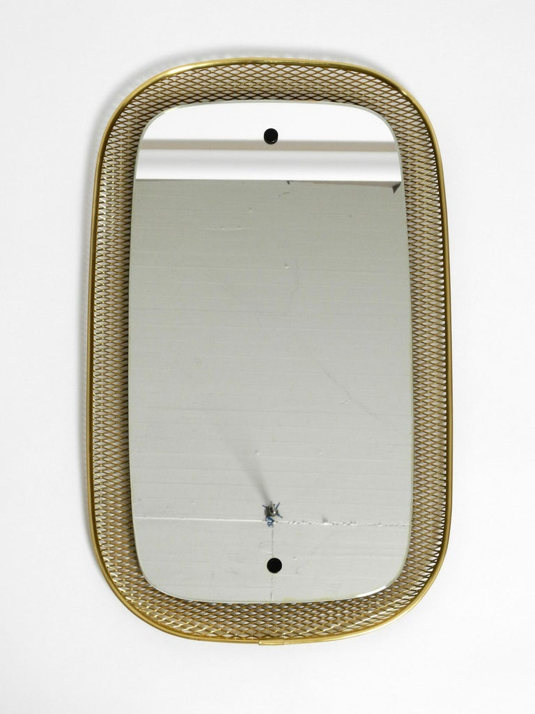 Beautiful, Very Rare Mid-Century Modern Wall Mirror with a Brass Grid Frame In Good Condition In München, DE