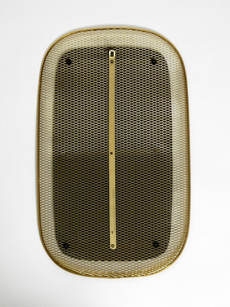 Beautiful, Very Rare Mid-Century Modern Wall Mirror with a Brass Grid Frame 4