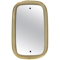 Beautiful, Very Rare Mid-Century Modern Wall Mirror with a Brass Grid Frame