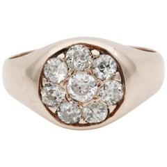 Beautiful Victorian 1.30 Carat Old Mine Diamond Unisex Signet Ring