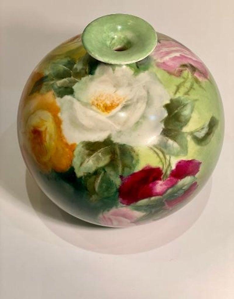 Beautiful Victorian American Belleek Willets Bulbous Hand Painted Porcelain Vase 5