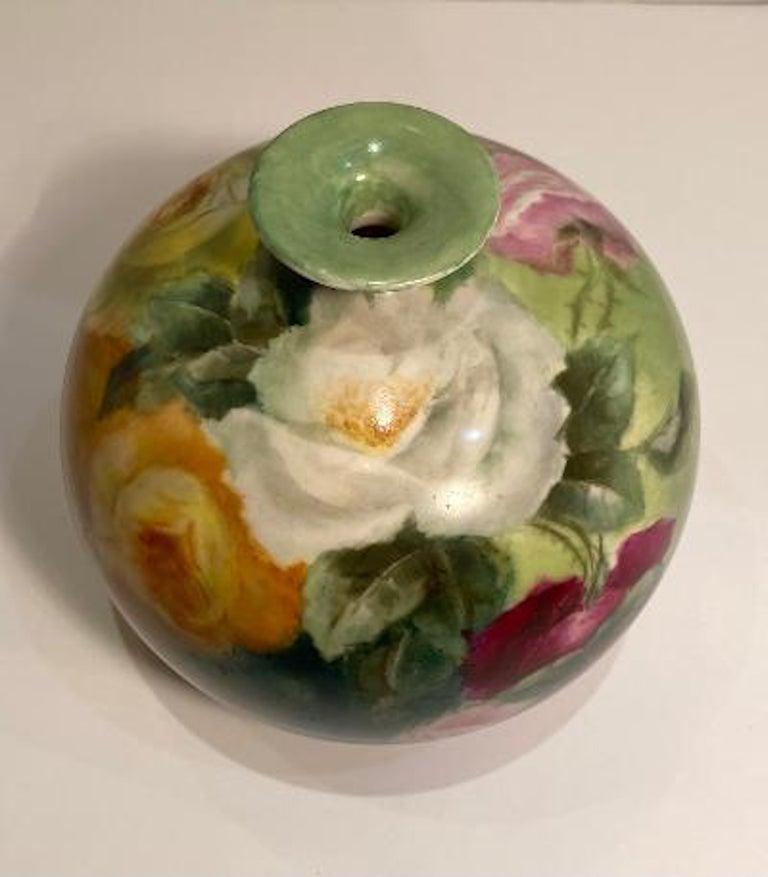 Beautiful Victorian American Belleek Willets Bulbous Hand Painted Porcelain Vase 8