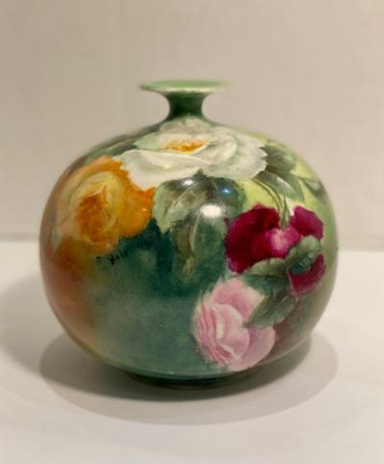 Hand-Crafted Beautiful Victorian American Belleek Willets Bulbous Hand Painted Porcelain Vase