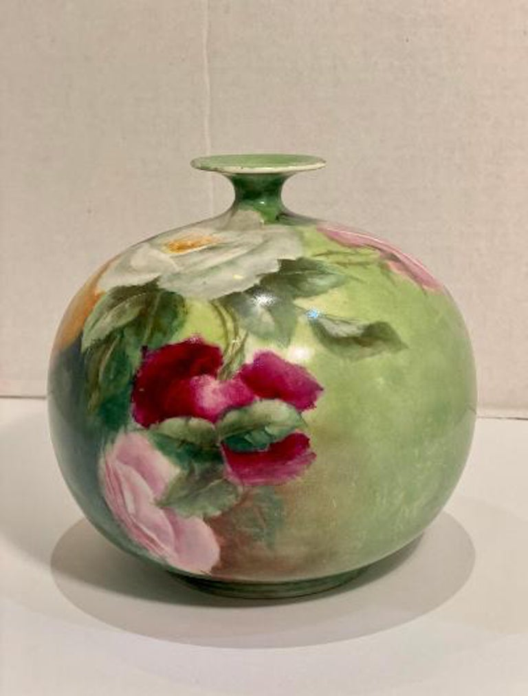 Beautiful Victorian American Belleek Willets Bulbous Hand Painted Porcelain Vase In Good Condition In Tustin, CA