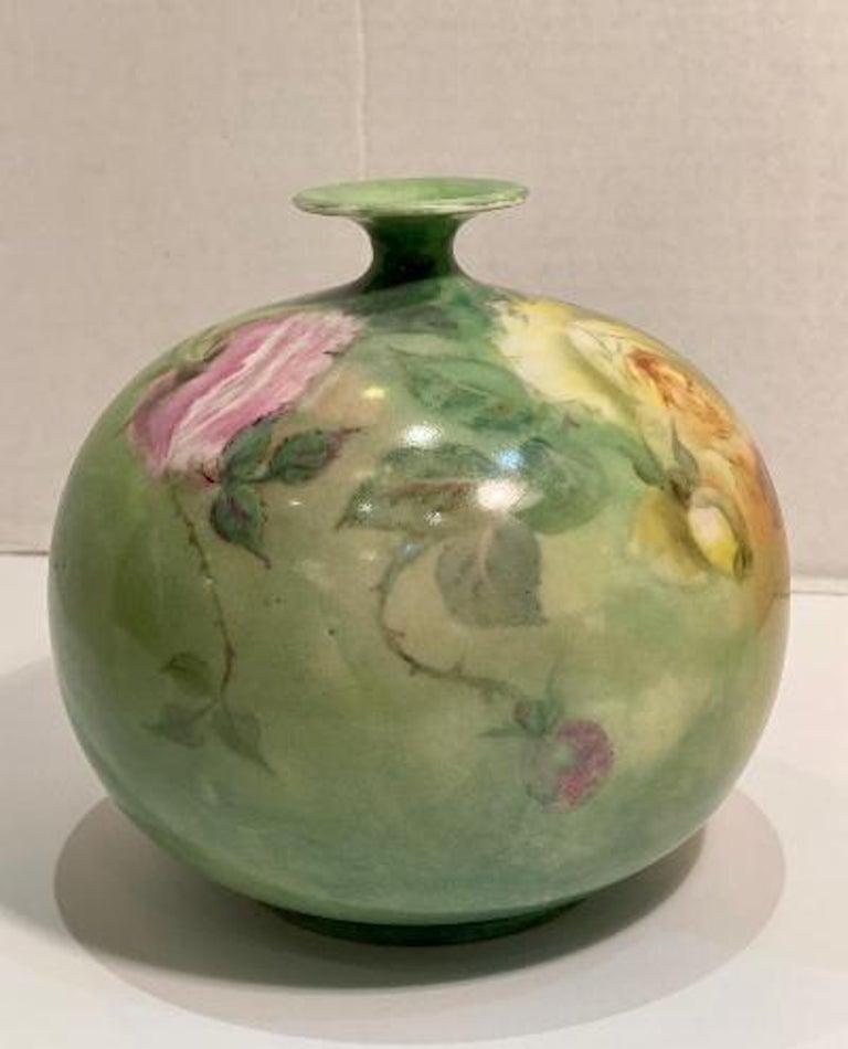 19th Century Beautiful Victorian American Belleek Willets Bulbous Hand Painted Porcelain Vase