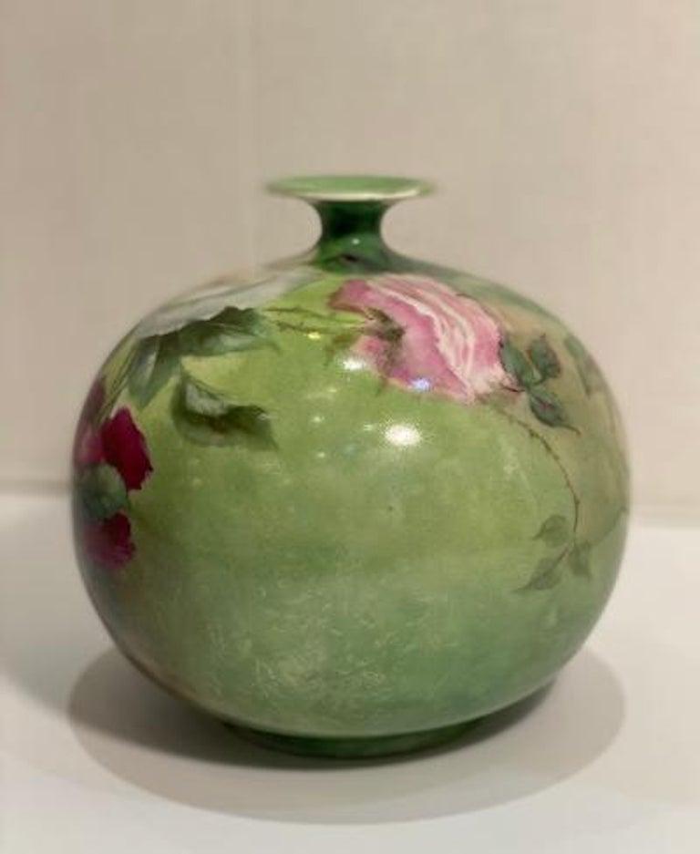 Beautiful Victorian American Belleek Willets Bulbous Hand Painted Porcelain Vase 1