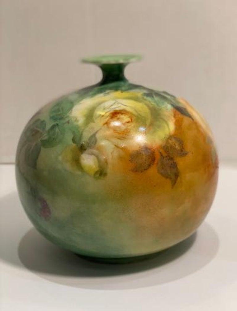 Beautiful Victorian American Belleek Willets Bulbous Hand Painted Porcelain Vase 2
