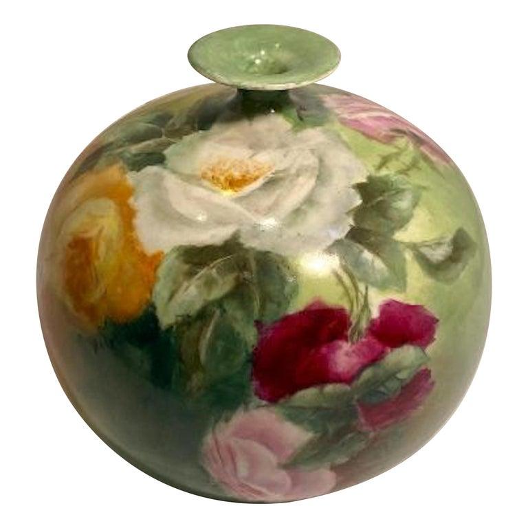 Beautiful Victorian American Belleek Willets Bulbous Hand Painted Porcelain Vase