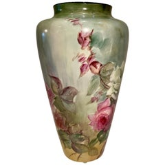 Beautiful Victorian American Belleek Willets Large Hand Painted Porcelain Vase