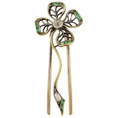 Beautiful Victorian Clover Diamond Emerald Hair Ornament