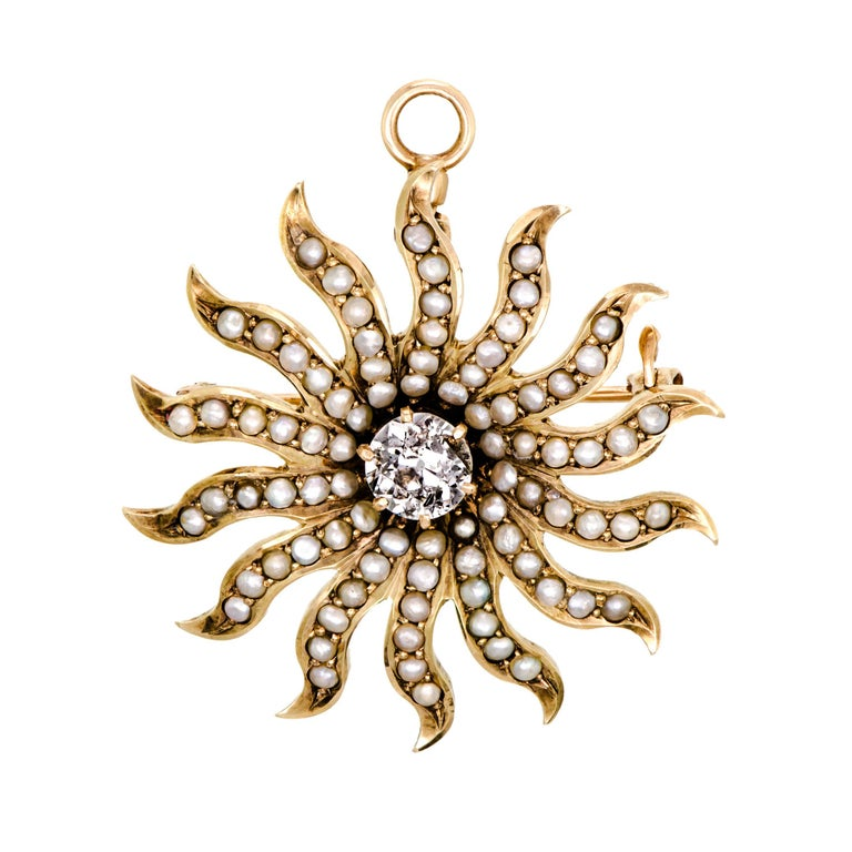 Beautiful Victorian Diamond and Pearl Yellow Gold Starburst Brooch/Pendant