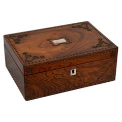 Beautiful Victorian Rosewood and Studded Jewelry Box with Tray
