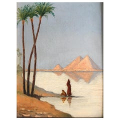 Beautiful View of the Pyramids, Egypt, 1915, by Denizot, Oil on Canvas