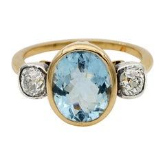 Beautiful Vintage 3.0 Ct Natural Aquamarine .80 CT Old Cut Diamond Trilogy Ring