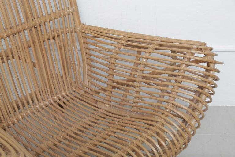 European Beautiful Vintage Albini Style Rattan Chair For Sale