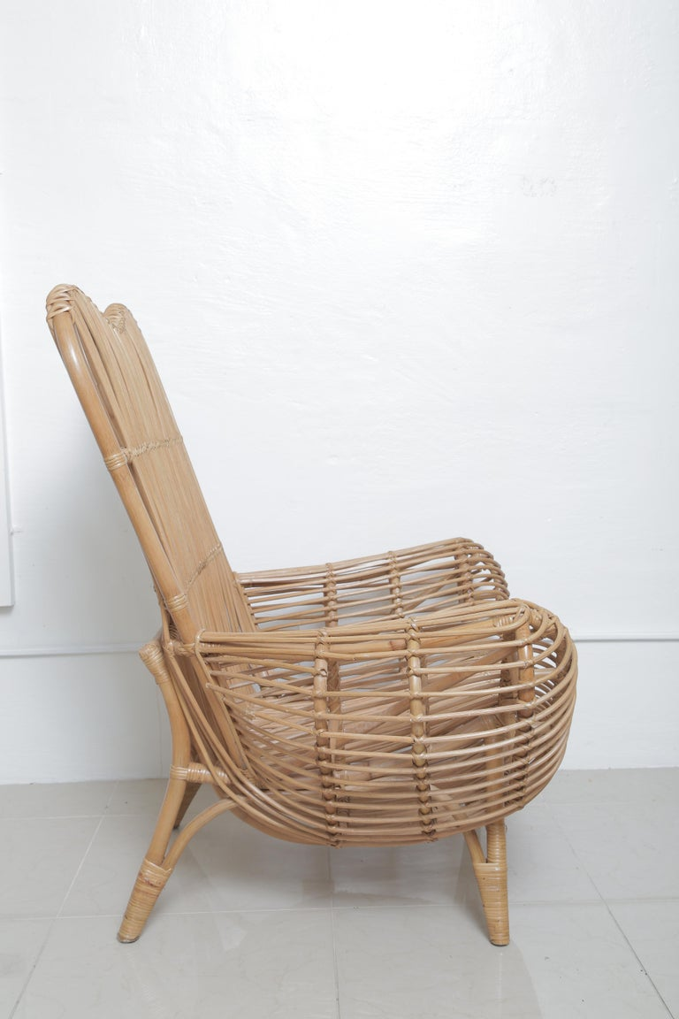 Beautiful Vintage Albini Style Rattan Chair In Excellent Condition For Sale In West Palm Beach, FL