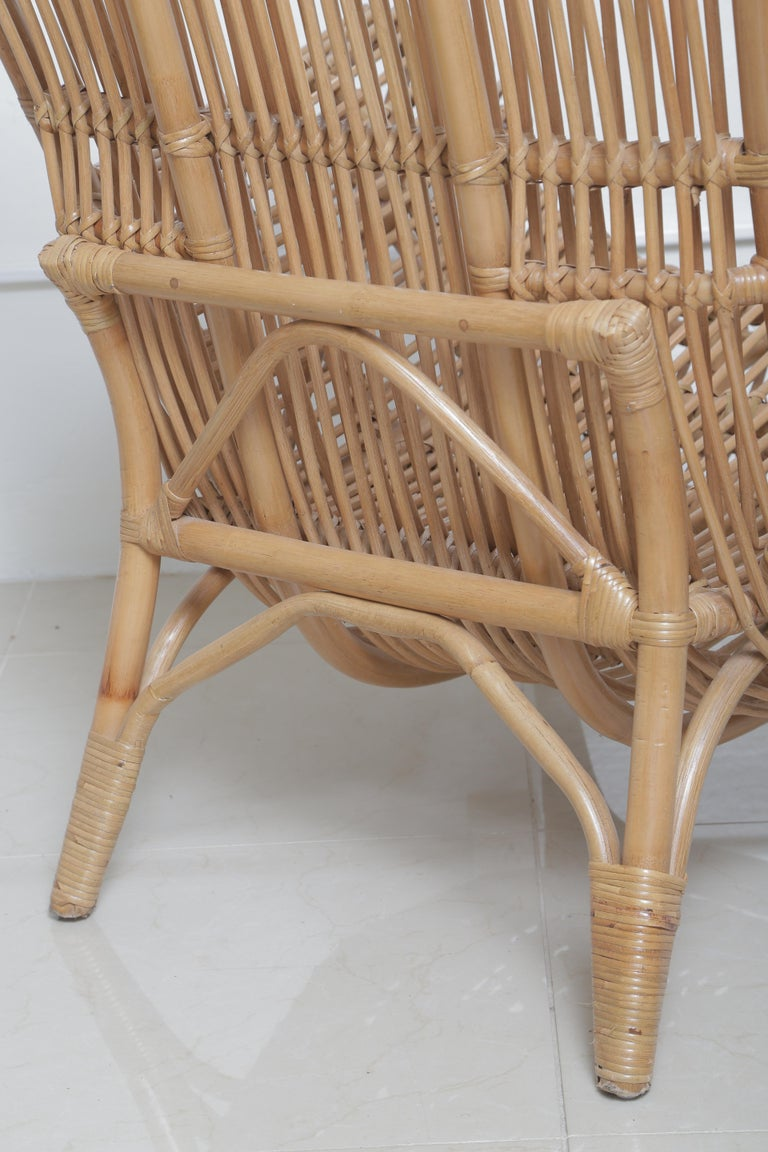 Late 20th Century Beautiful Vintage Albini Style Rattan Chair For Sale