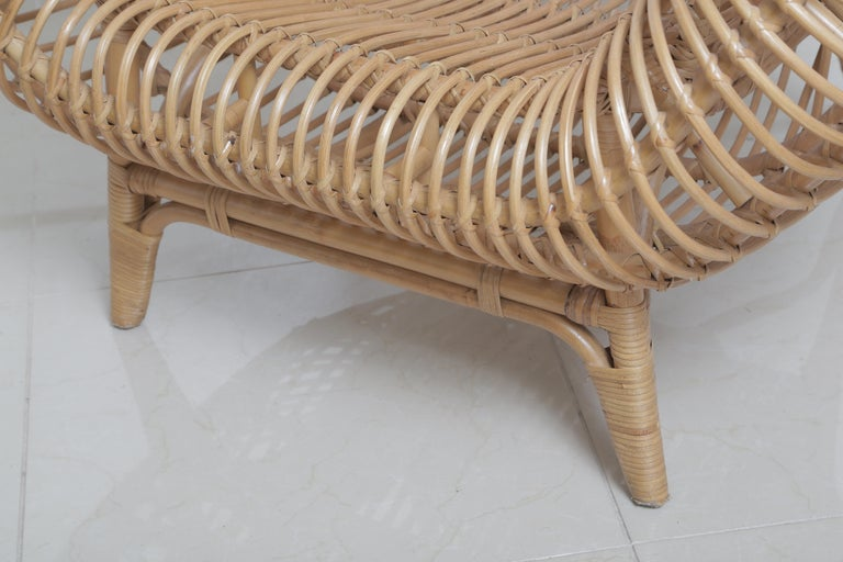 Beautiful Vintage Albini Style Rattan Chair For Sale 1