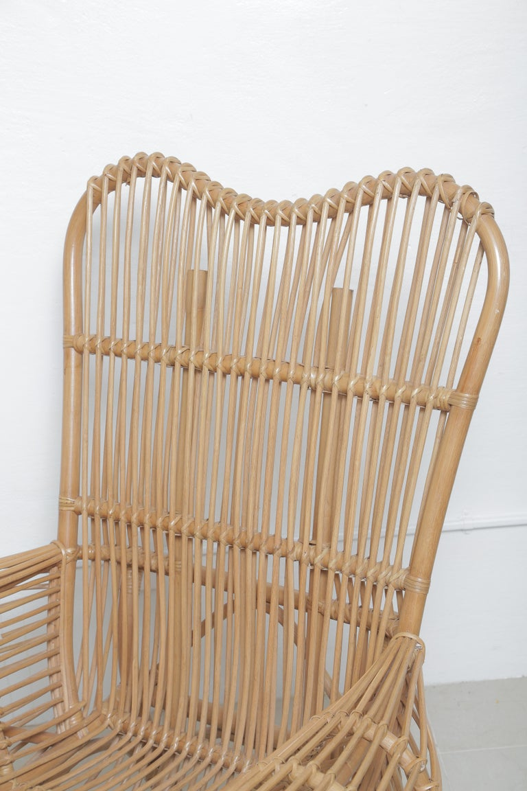 Beautiful Vintage Albini Style Rattan Chair For Sale 2