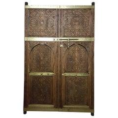 Beautiful Vintage Andalusia Carved Indigenous Cedar Moroccan Door