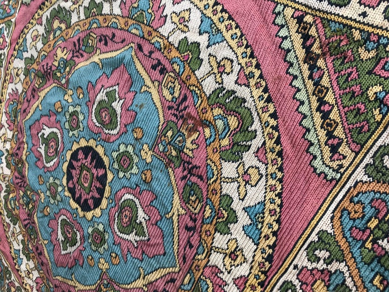 Beautiful Vintage Armenian Hand Embroidered Table Cloth For Sale 5