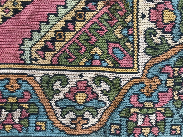 Beautiful Vintage Armenian Hand Embroidered Table Cloth For Sale 6