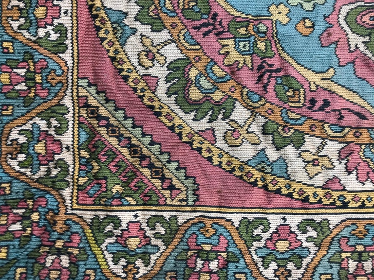 Kazak Beautiful Vintage Armenian Hand Embroidered Table Cloth For Sale