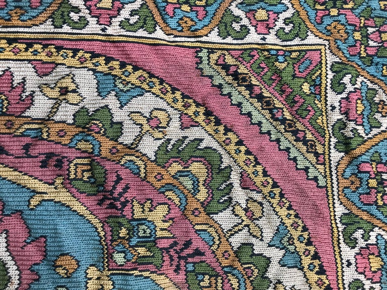 20th Century Beautiful Vintage Armenian Hand Embroidered Table Cloth For Sale