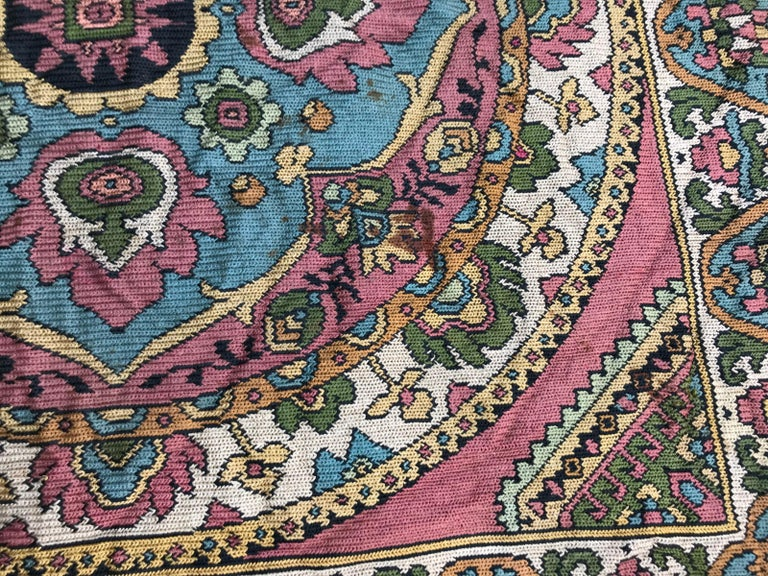 Silk Beautiful Vintage Armenian Hand Embroidered Table Cloth For Sale