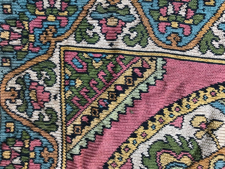 Beautiful Vintage Armenian Hand Embroidered Table Cloth For Sale 2