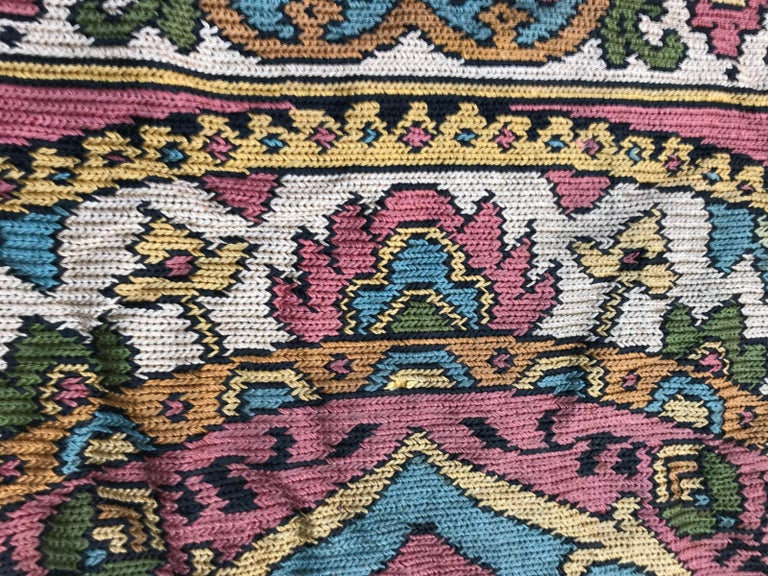 Beautiful Vintage Armenian Hand Embroidered Table Cloth For Sale 3