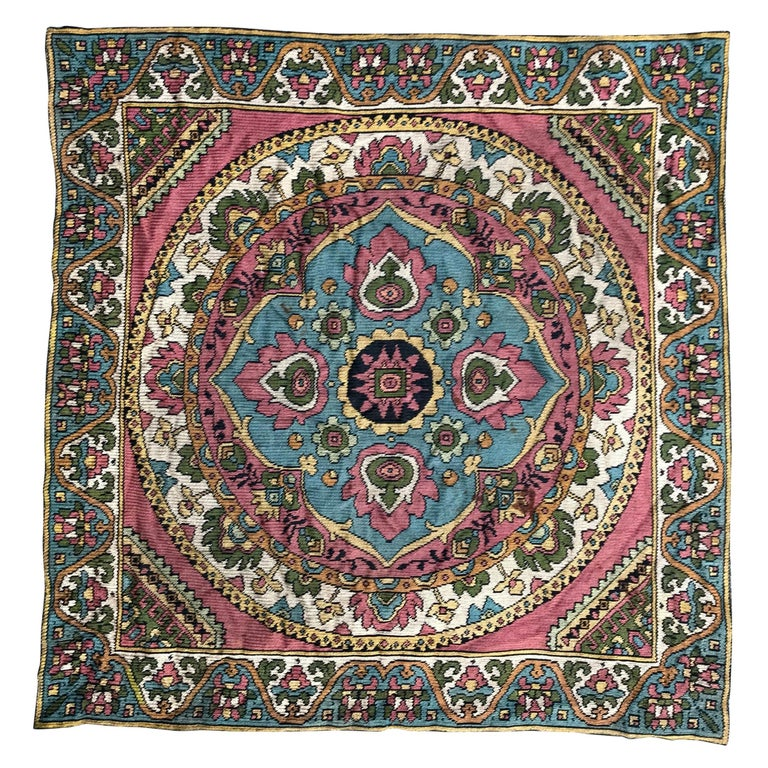 Beautiful Vintage Armenian Hand Embroidered Table Cloth For Sale