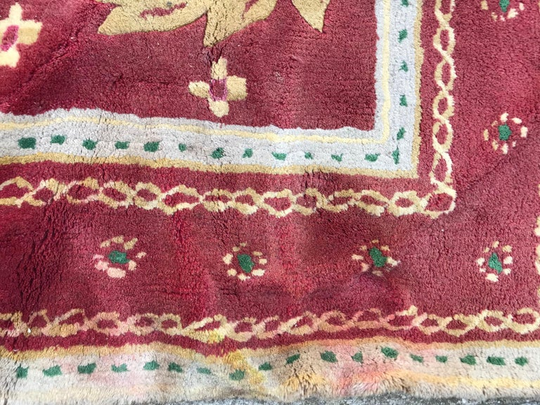 Beautiful Vintage Aubusson Design Hand Tufted Rug For Sale 3