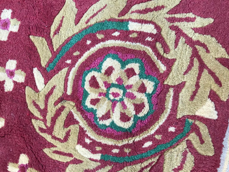 Beautiful Vintage Aubusson Design Hand Tufted Rug For Sale 6