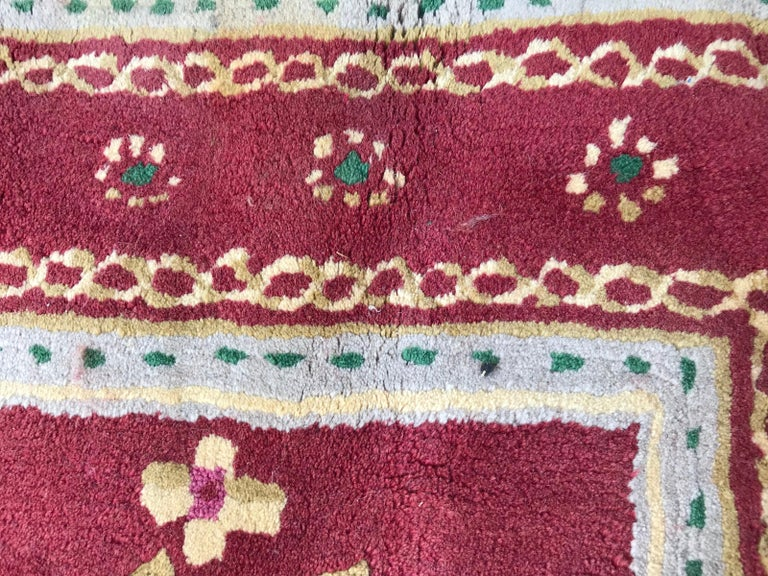 Beautiful Vintage Aubusson Design Hand Tufted Rug For Sale 7