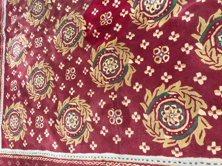 Indian Beautiful Vintage Aubusson Design Hand Tufted Rug For Sale