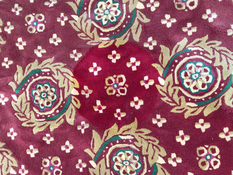 Hand-Crafted Beautiful Vintage Aubusson Design Hand Tufted Rug For Sale