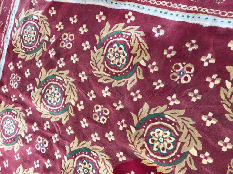20th Century Beautiful Vintage Aubusson Design Hand Tufted Rug For Sale