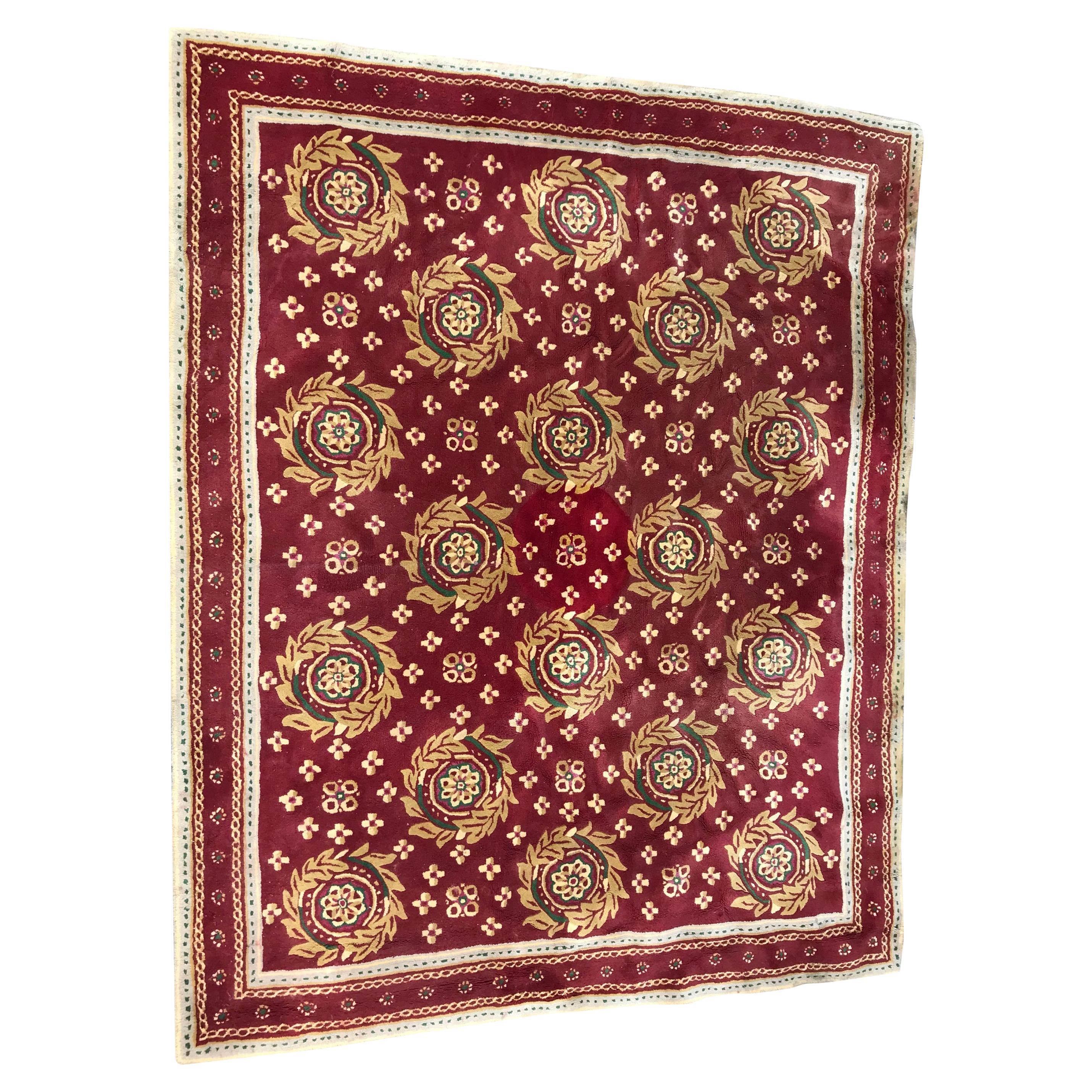 Beautiful Vintage Aubusson Design Hand Tufted Rug