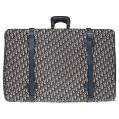 Beautiful vintage Christian Dior suitcase in navy blue monogram canvas & leather