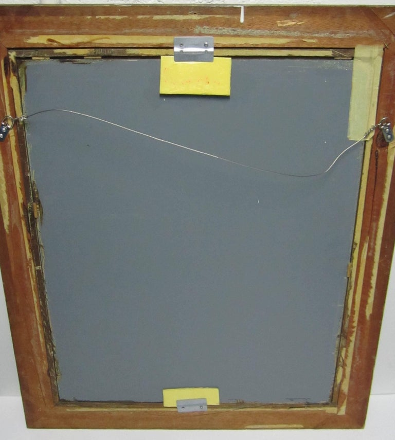 Distressed Wood And Metal Framed Wall Mirror At 1stdibs