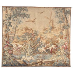 Beautiful Vintage French Aubusson Style Jaquar Tapestry