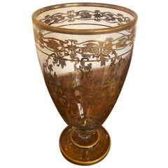 Beautiful Vintage Gold Leaf Decorated Glass Vase