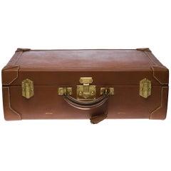 Beautiful vintage Hermès suitcase in brown calf leather