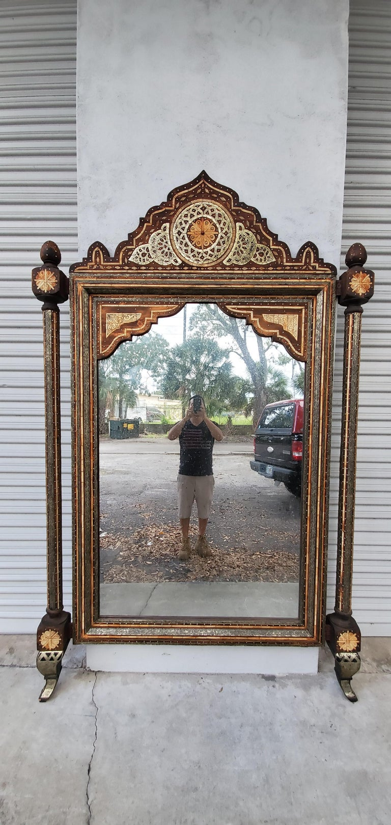 Beautiful Vintage Inlayed Camel Bone Mirror For Sale 1