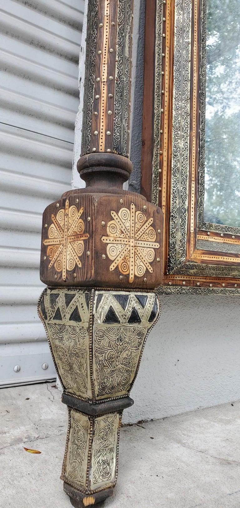 Beautiful Vintage Inlayed Camel Bone Mirror For Sale 2