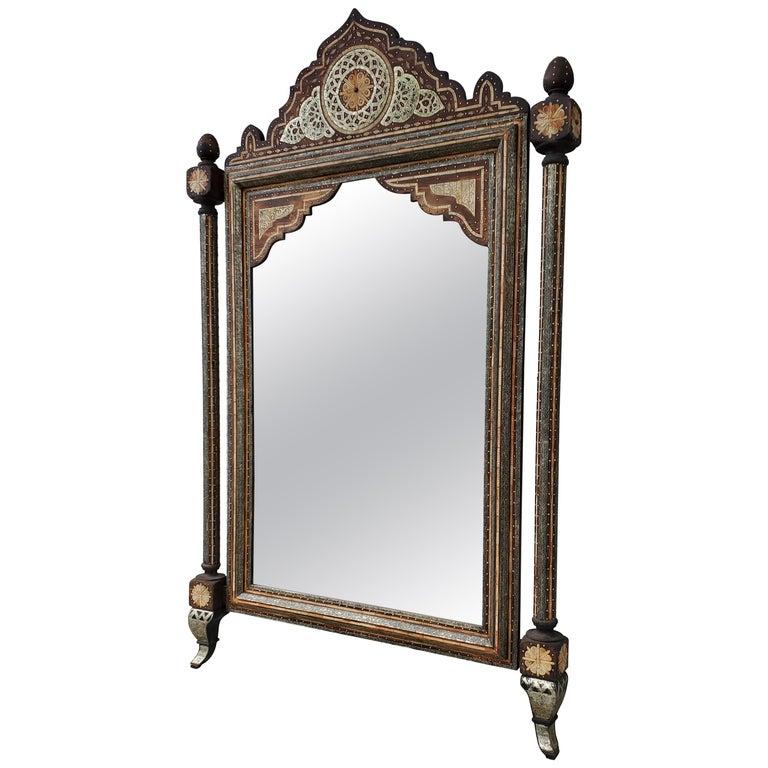 Beautiful Vintage Inlayed Camel Bone Mirror For Sale