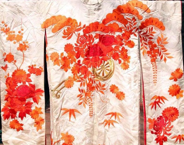 Japonisme Beautiful Vintage Japanese Ceremonial Kimono Uchikake For Sale