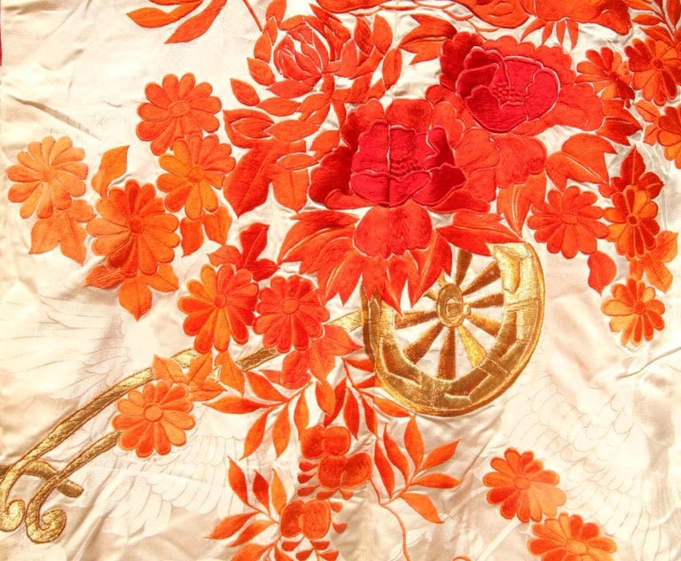 Mid-20th Century Beautiful Vintage Japanese Ceremonial Kimono Uchikake For Sale